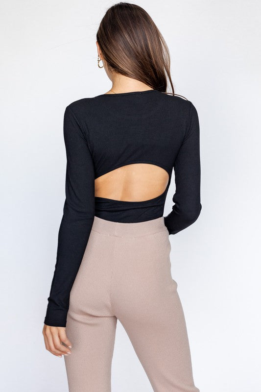 Long sleeve open back ribbed bodysuit