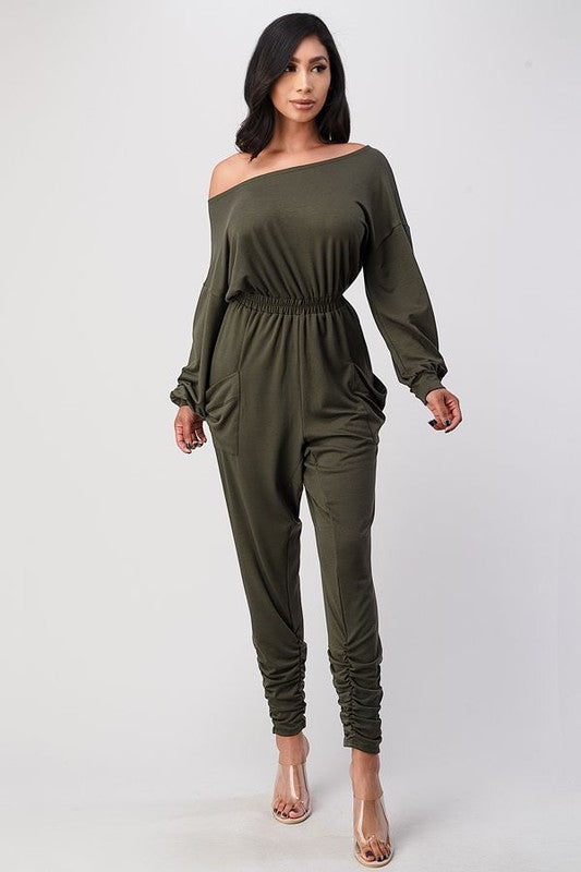 Off the shoulder jumpsuit with pockets