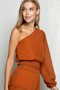 One shoulder top with smocked waist