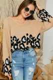 Wide neck leopard wide sleeve sweater