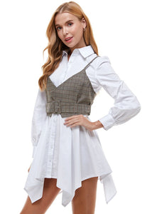 Shirt Dress with Plaid Vest 2pc set