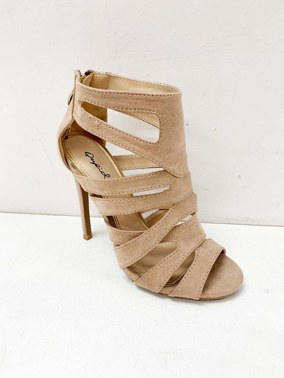Suede peep toe high heel shoe