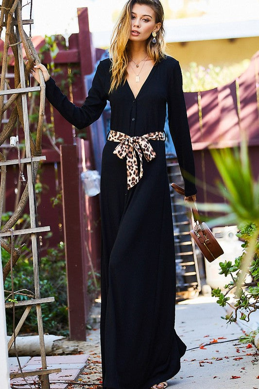 V-neck button down long sleeve maxi dress