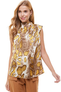 Snakeskin sleeveless blouse