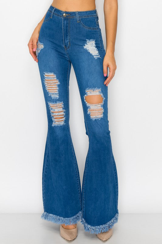Bell bottom jean with holes and frayed hem BC010