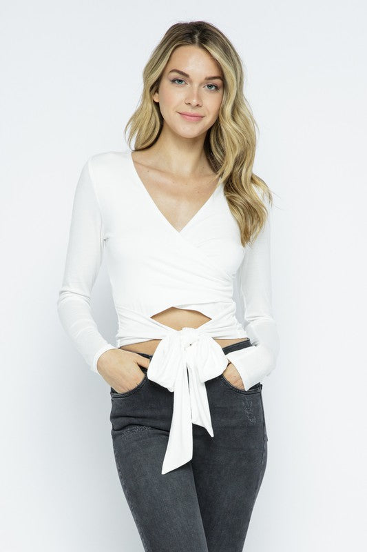 Long sleeve surplice crop top with tie