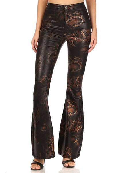 Metallic snakeskin high waist stretch bell bottom jeans