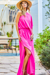 One shoulder side slit maxi dress