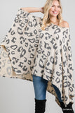 Brush Leopard Print Poncho Top
