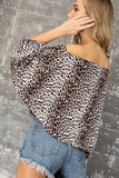 cheetah print puff sleeve wide neck top