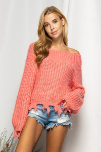 off the shoulder distressed sweater