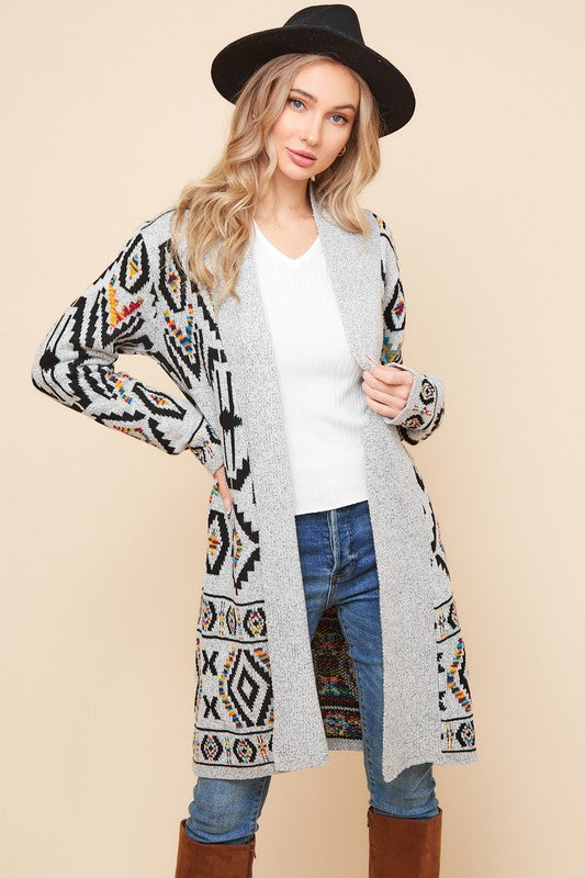 Tribal print sweater cardigan