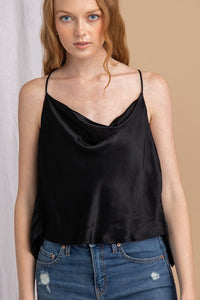 satin cowl neck cami with open back