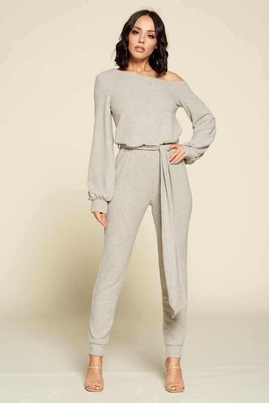 off the shoulder jogger jumpsuit