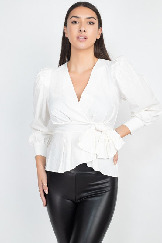 Puff Sleeve Front Wrap Peplum Top