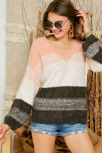 V-neck color block sequin sweater