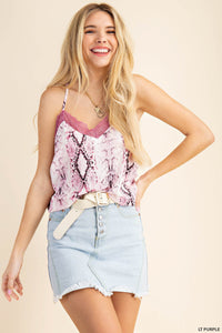 snakeskin lace cami top