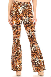 Leopard stretch high waist bell bottom jeans