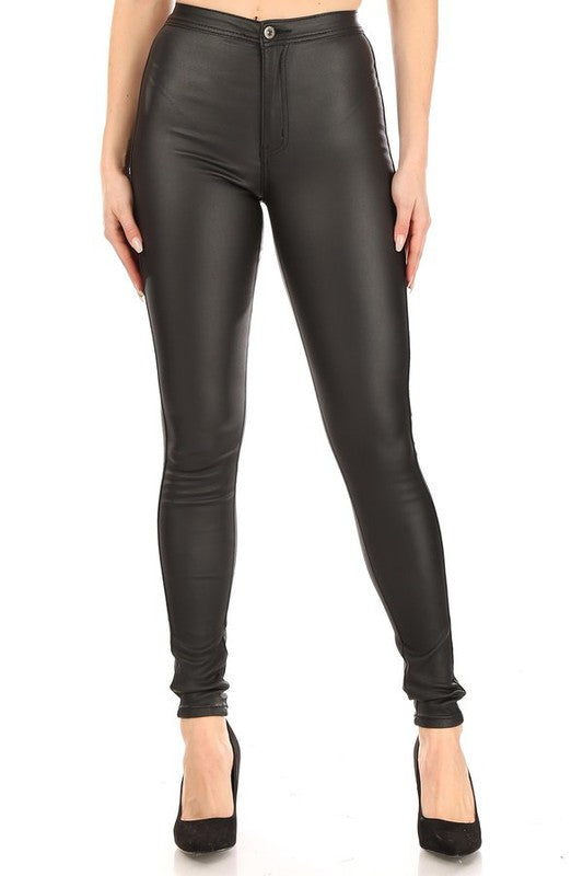 High waist stretch faux leather pants