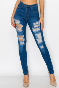 High waist stretch ripped jeans