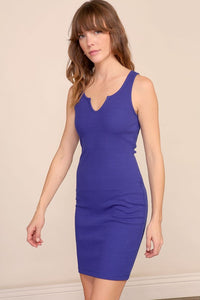 Ribbed knit notched bodycon tank dress