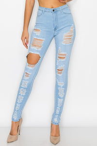 High Waist Destroyed/Ripped Skinny jeans