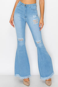 High waist stretch bell bottom jean with rips and fray BC011