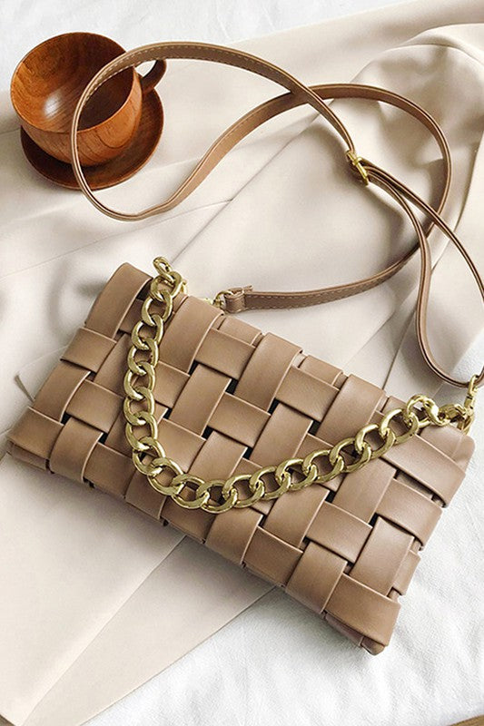 Vegan leather woven clutch bag