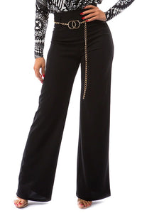 high waist flare leg pant with chain belt