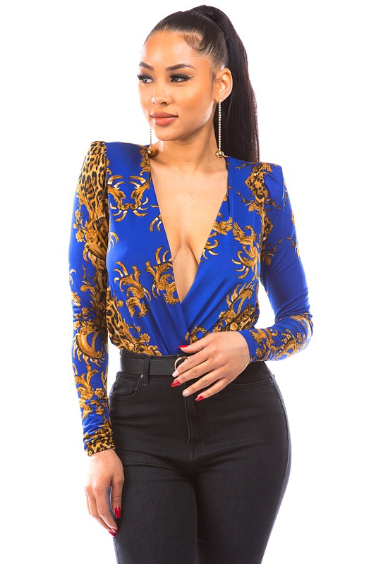 barocco and leopard print surplice bodysuit