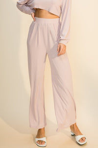 Pleated ribbed wide leg knit pull on pants