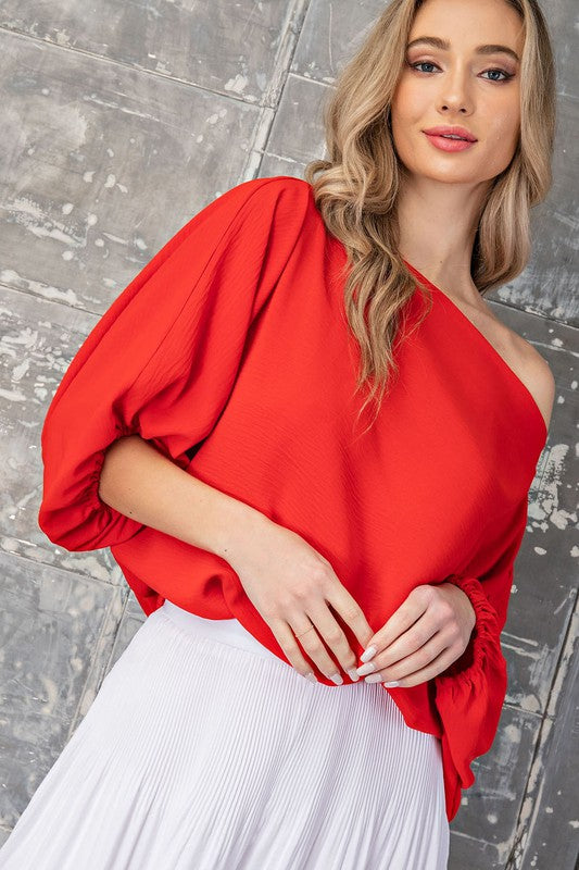 balloon sleeve boatneck chiffon top