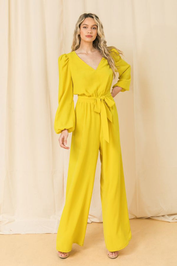 puff sleeve wide leg jumpsuit