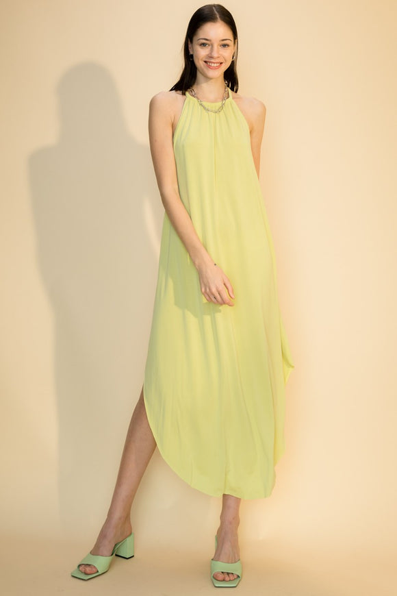 modal round hem sleeveless maxi dress