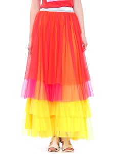 tri color tiered mesh maxi skirt