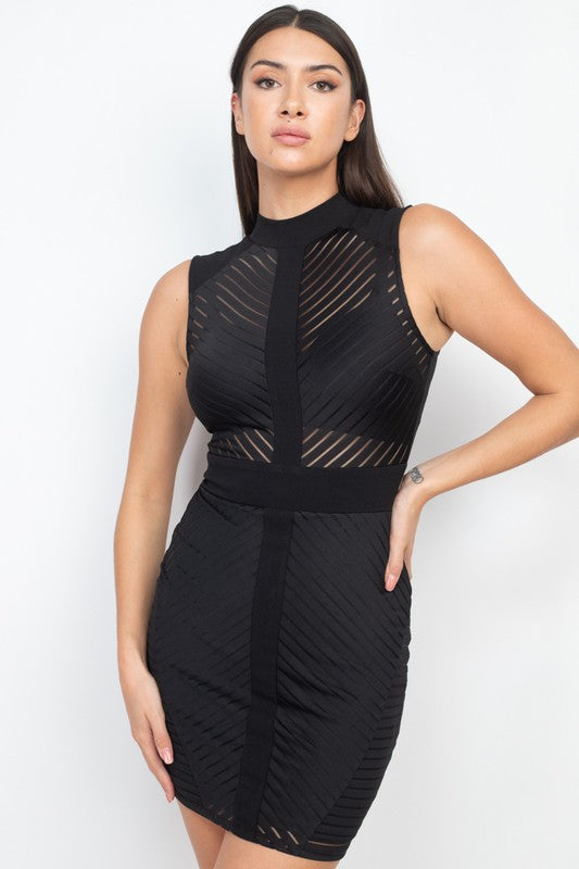 Sheer Bodycon Mock Neck Dress
