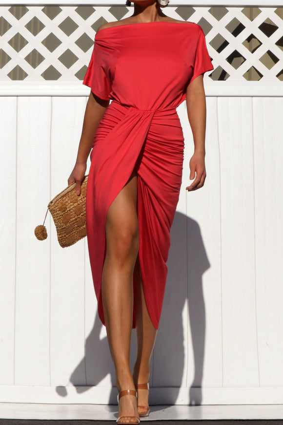 Off the shoulder matter jersey wrap draped midi dress