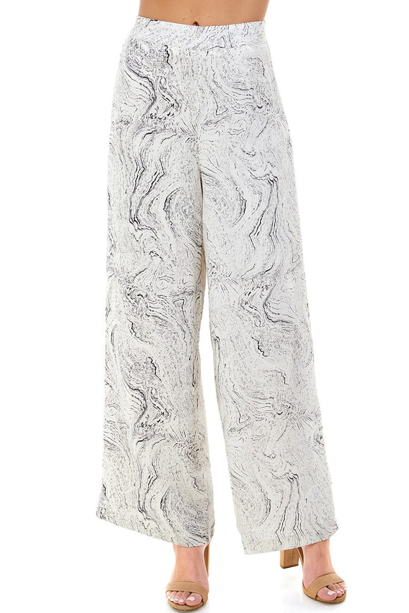 Marble Printed Wide Leg Pants