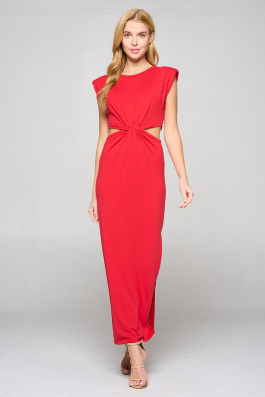 Shoulder pad knot front side cutouts maxi dress
