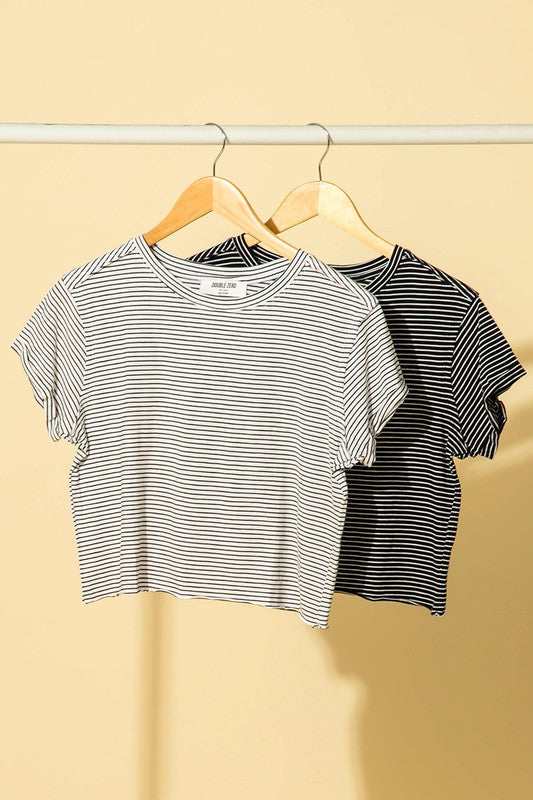 stripe crew neck short sleeve crop tee