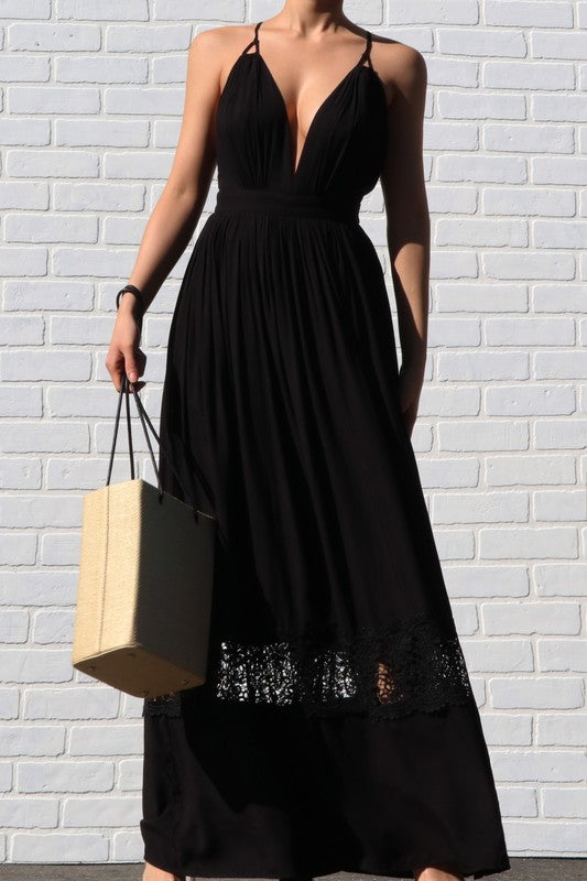 Open back maxi dress with lace band