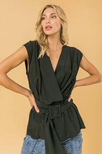 sleeveless surplice peplum top with belt