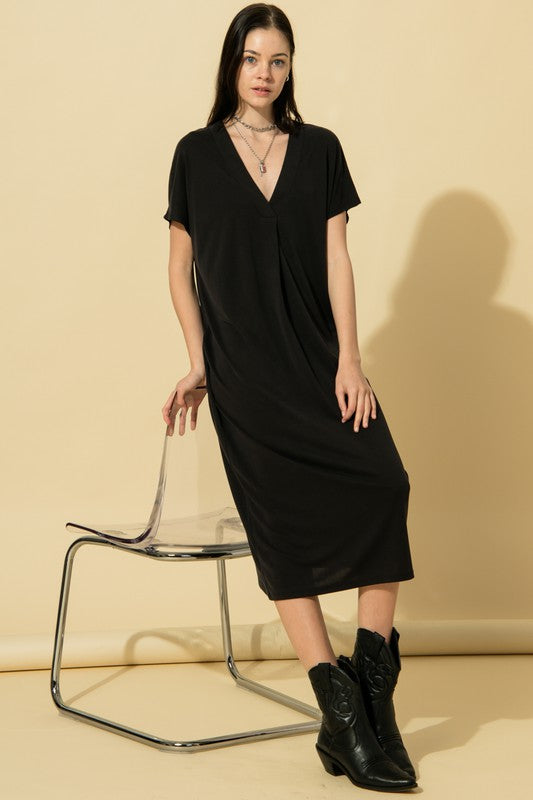 v-neck relaxed jersey midi dress