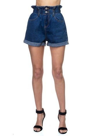 paper bag high waist denim shorts