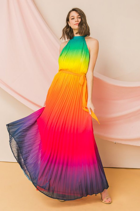 Rainbow ombre pleated maxi dress