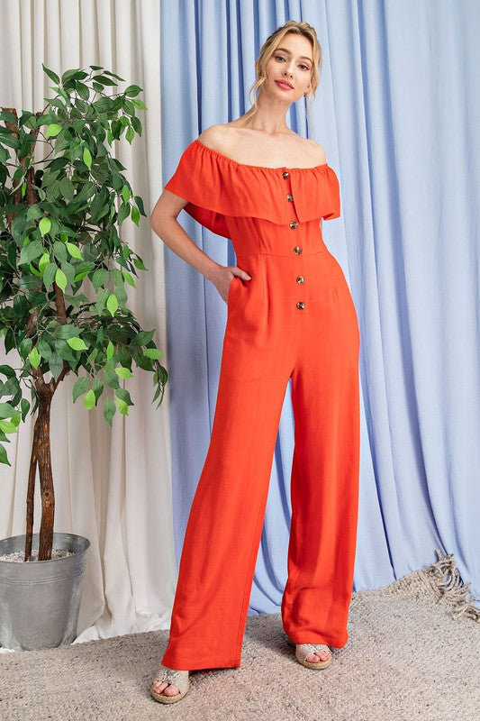 linen off the shoulder button front jumpsuit