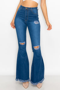 ripped knees high waist stretch bell bottom jeans BC-013