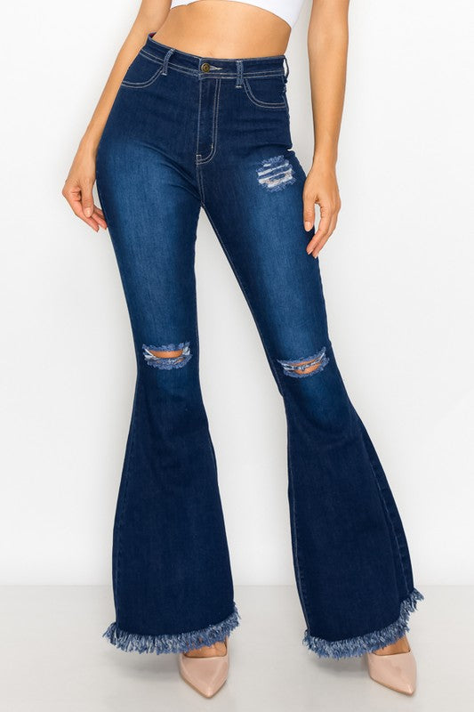ripped knees high waist stretch bell bottom jeans BC-014