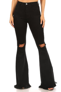 Stretch high waist bell bottom with ripped knee & frayed hem