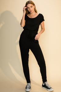 wide neck jersey drawstring jogger jumpsuit